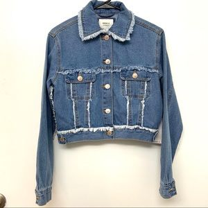 Forever 21 Frayed Trim Denim Jacket Womens's Small